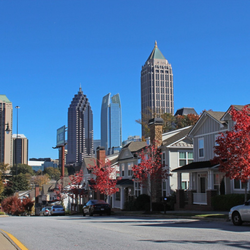 Atlanta's skyline showing commercial buildings and homes around Atlanta - SRC is Atlanta's Roofing Choice for over 20 years.